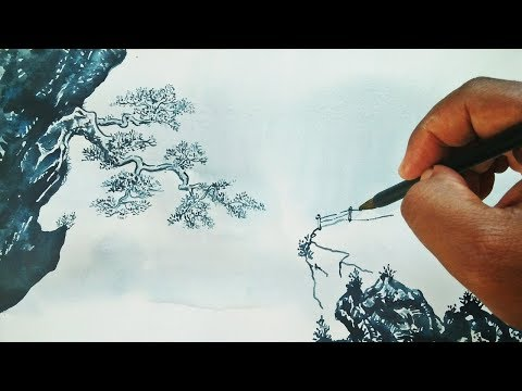 PAINTING TUTORIAL: Chinese Traditional Painting Style, watercolor art trick