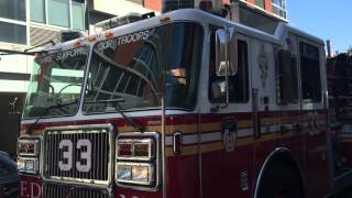 FDNY ENGINE 33 TAKING UP FROM A CALL ON WEST 3RD STREET IN THE EAST VILLAGE IN MANHATTAN, NEW YORK.