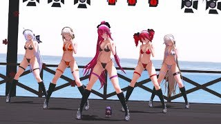 【MMD】一騎当千 / Ikkitousen【水着/Swimsuit  Haku Teto Luka IA ONE】