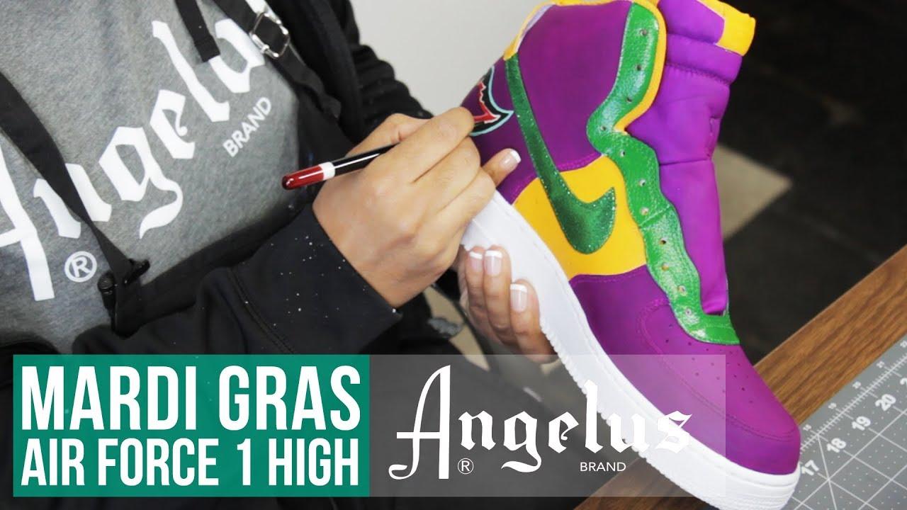 huge discount 432bd 95a0b Custom Mardi Gras Nike Air Force 1 High   Custom Shoes   Angelus Paint