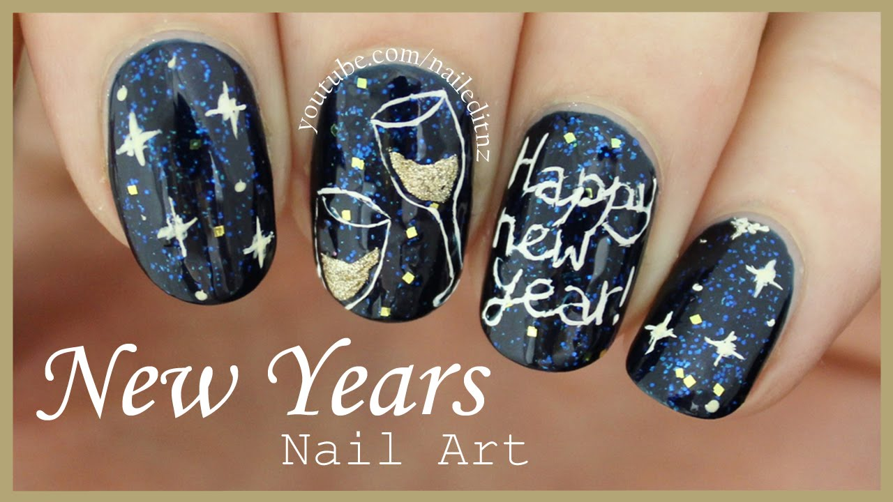 HAPPY NEW YEAR Nail Art - HAPPY NEW YEAR Nail Art - YouTube