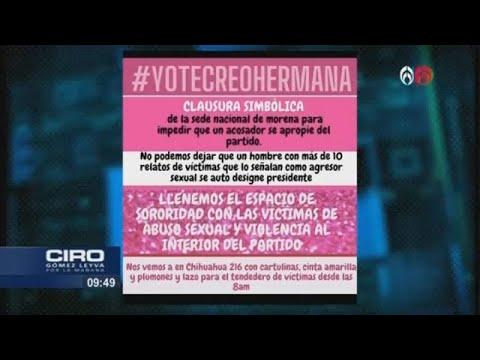 """""""No al acoso sexual"""": feministas clausuran oficinas de Morena en protesta contra Muñoz Ledo"""