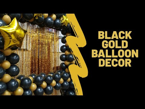 Download Black Gold Balloon Decoration | Photo Booth | surprise Party Decoration | Party Planners 9560933132