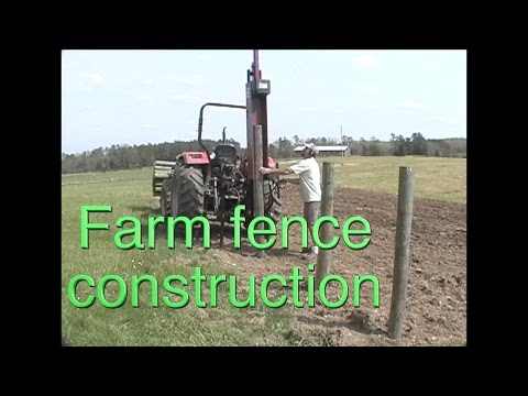 Farm fence construction using a post driver: The best way to install posts hands down!  FarmCraft101