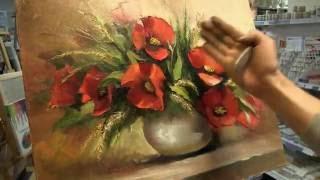 Мастер-Класс живописи маслом. Пишем Маки мастихином. Новое