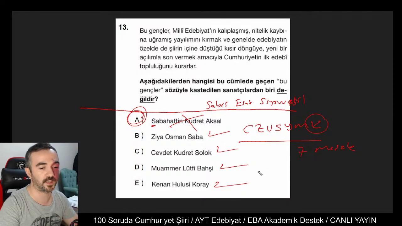 100 Soruda Cumhuriyet Dönemi Türk Şiiri / EBA Akademik Destek / CANLI YAYIN