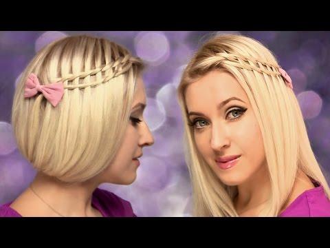 faux-bob-ladder-waterfall-braid-★-hairstyle-for-medium-long-hair-tutorial