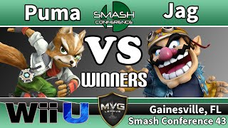Puma (Fox) vs. Jag (Wario) - SSB4 Winners R4 - SC43(SUBSCRIBE FOR ALL MVG CONTENT! WATCH LIVE AT: http://www.twitch.tv/mvg_league Florida Smash Conference https://twitter.com/MVGLeague ..., 2015-10-03T04:34:38.000Z)