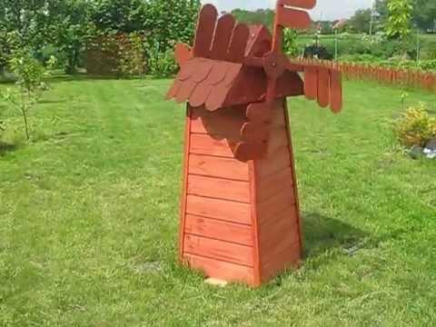 Superbe DIY Decorative Garden Wooden Windmill Wiatrak Ogrodowy Drewniany