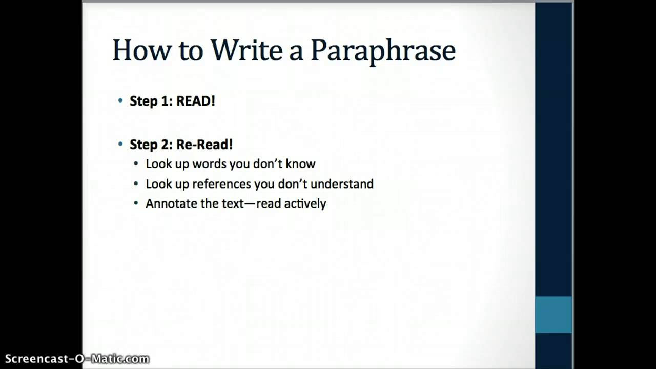 How to Write a Paraphrase  YouTube