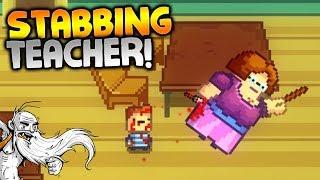 """Kindergarten Gameplay - """"STABBING THE TEACHER!!!""""  - Let"""