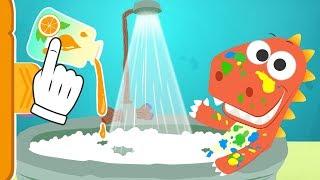 Aprende con Eddie a darte un baño 🛀 Eddie el dinosaurio se lava después de pintar thumbnail