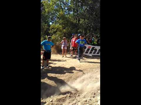 Dan Mundell working the crowd at World Enduro GP Cahors, France, hill climb. Mega ! :)