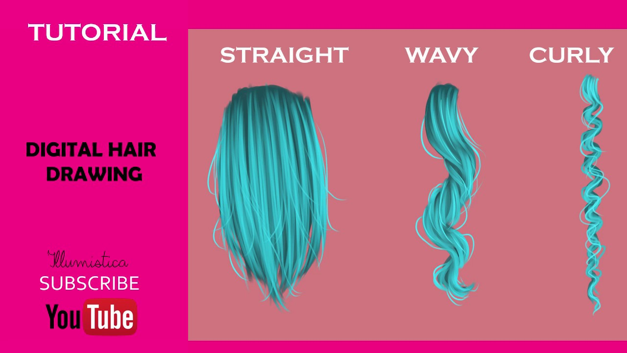 How To Draw Straight Wavy And Curly Hair Digitaly