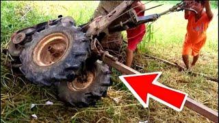 """láy máy cày quá nhanh ...bé trai nhận cái kết """"Đắng"""" lật hư máy cày ngồi sửa gần 1 tiếng ..."""