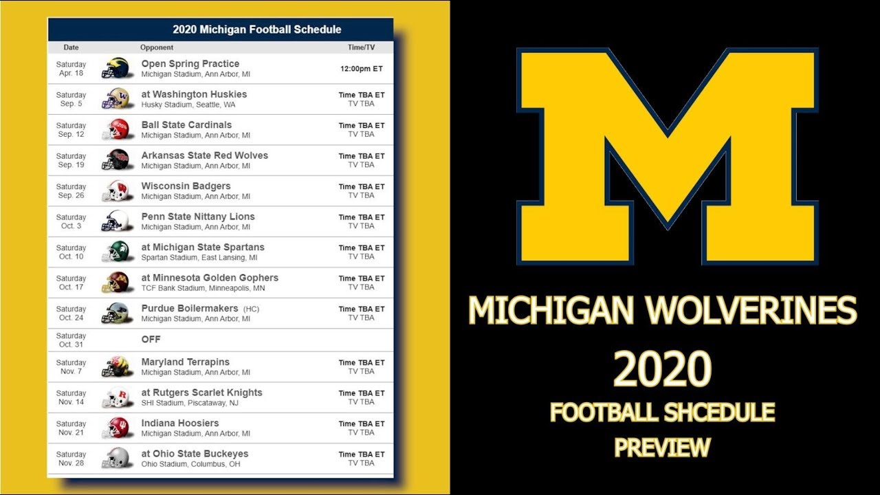Michigan Wolverines 2020 Football Schedule Preview Youtube