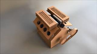 DIY Engine Model W16 Bugatti Veyron from cardboard