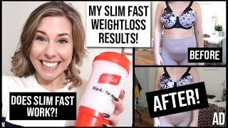 | ad my slim fast results! real weight loss results after 4 weeks on the 321 plan. before & shots plus honest review...