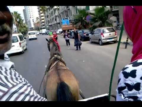 Riding the Hantour Cabriolet on the Corniche street in Alexandria, Egypt. 19.07.2012.