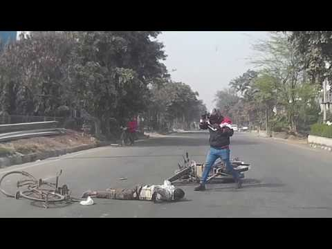 Indian Car Dash Live Accident Caught Between Cyclist & Bike (Haryana)