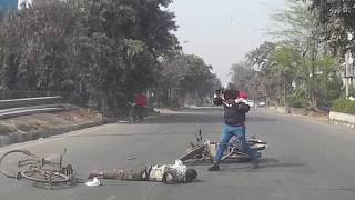Indian Car Dash Live Accident Caught Between Cyclist & Bike Danger