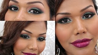 CHRISTMAS MAKEUP | Green Sparkly eyes and Berry Lips Thumbnail
