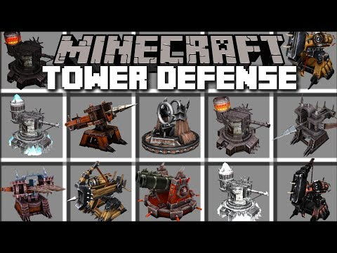 Minecraft TOWER DEFENSE MOD / FIGHT OFF HOARDS OF MOBS AND SURVIVE THE KINGDOM RUSH!! Minecraft