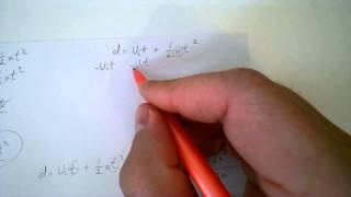 Rearranging d equals vit plus half a t squared