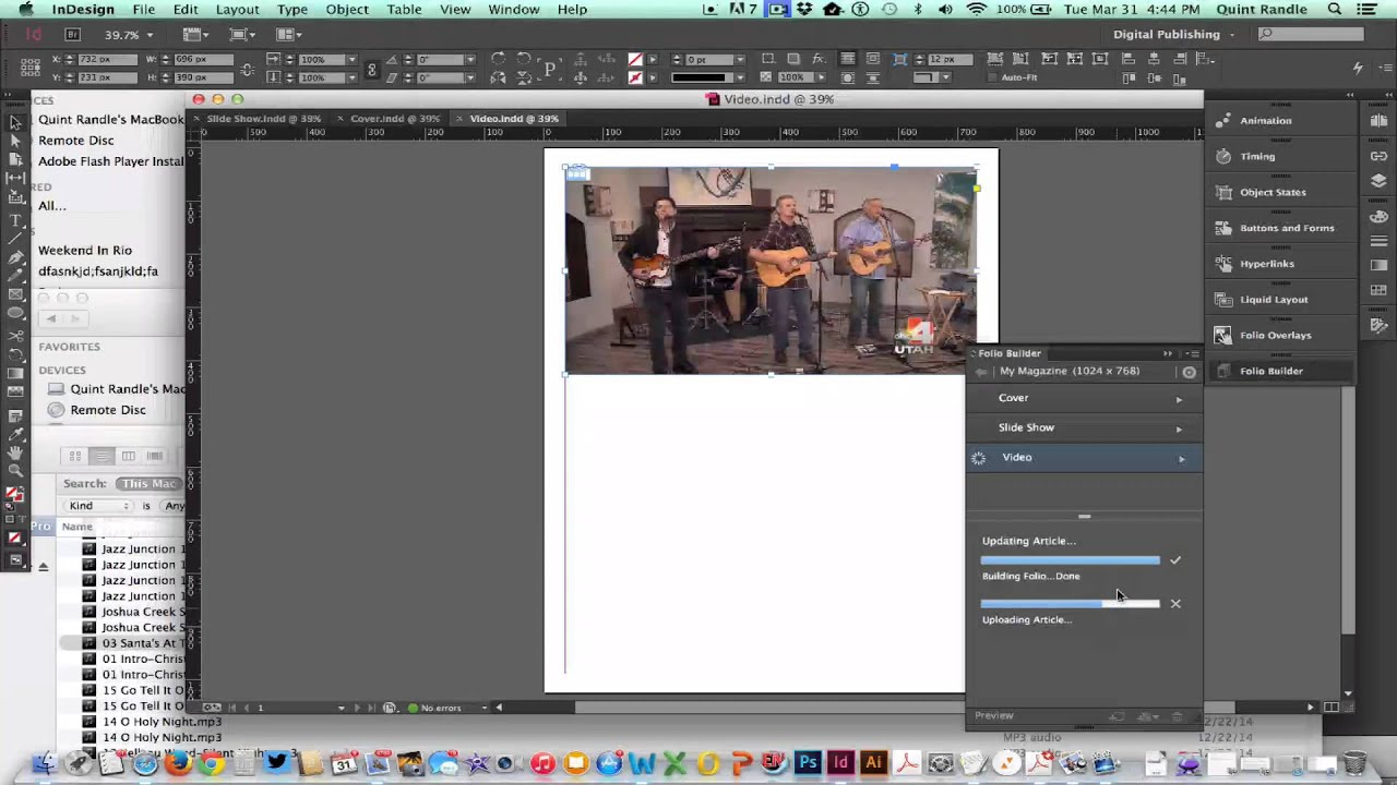 how to add video on indesign