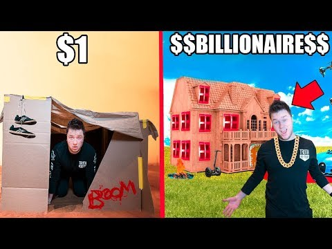 $1 BOX FORT Vs BILLIONAIRE BOX FORT CHALLENGE!!