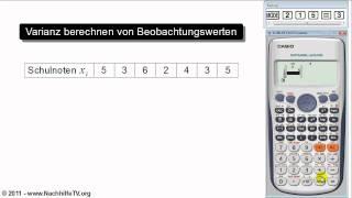 Varianz und Standardabweichung berechnen von Beobachtungswerten (mit Taschenrechner)