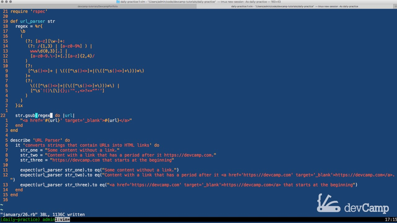 Use Ruby's gsub Method to Convert Links in Strings into HTML Link Tags