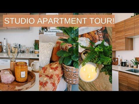 STUDIO APARTMENT TOUR | BOHO, EARTHY & MODERN