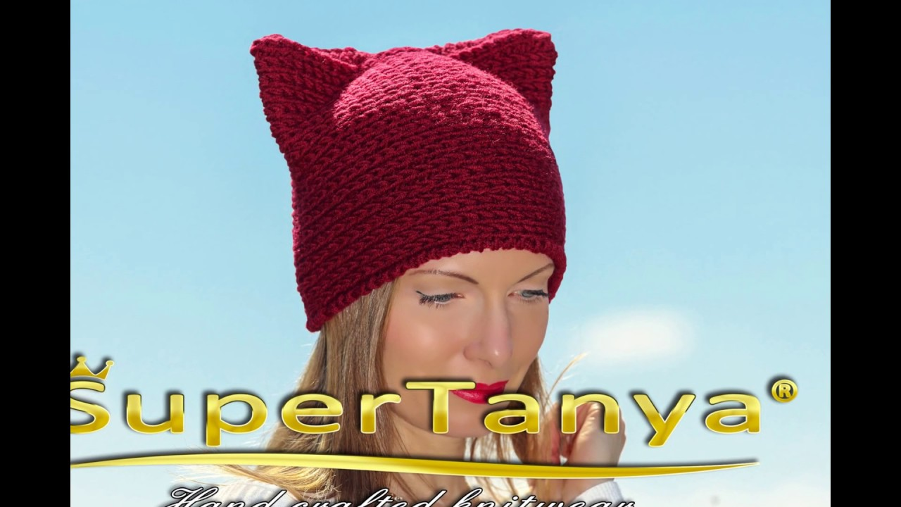 3f662e89d61 Red pussy hat cat ears hat hand knitted cat beanie red pussyhat chunky cat  hat by SUPERTANYA