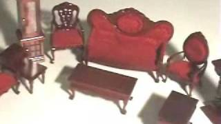 Dollhouse Furniture Mahogany Living Roomset