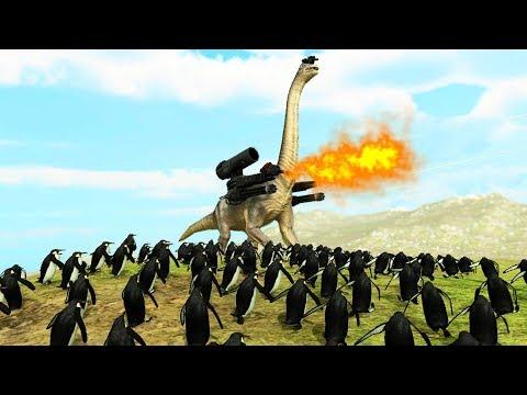 MEGA DINOSAUR vs PENGUIN ARMY - Beast Battle Simulator