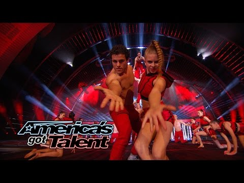 AcroArmy: Dance Troupe Tosses Girl From Judges Desk to Stage - America's Got Talent 2014