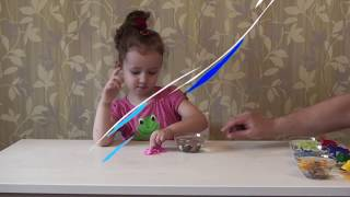 Ulyana playing and learning with colored frogs. Finger family songs for children. Family video