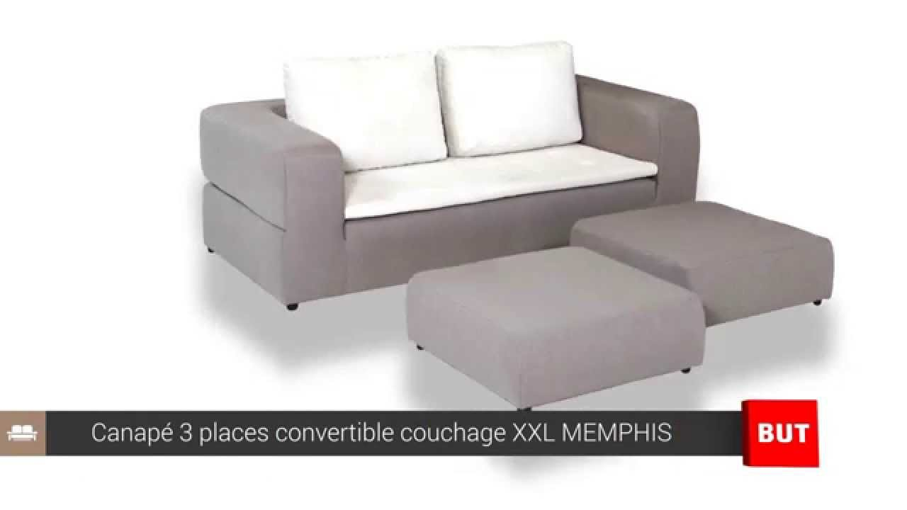 Canapé 3 places convertible couchage XXL MEMPHIS - BUT - YouTube
