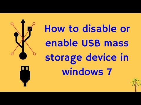 How to disable or enable USB mass storage device in windows 7