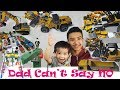 Online Haul: Dad Can't Say No Challenge for 24 Hours|Learn Thomas and Friends,Construction Toys