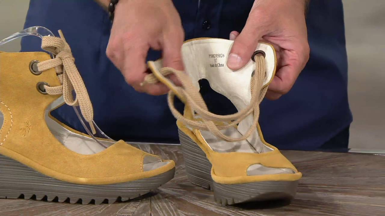 4af5801a985e FLY London Leather Lace-up Ankle Strap Sandals - Yaffa on QVC - YouTube