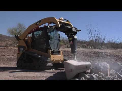 Гидромолот CAT   Обзор Авто   работа гидромолота, смена орудий