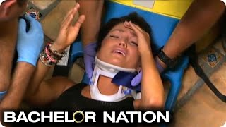 Tierra Falls Down Stairs And Ends Up On Stretcher | The Bachelor US