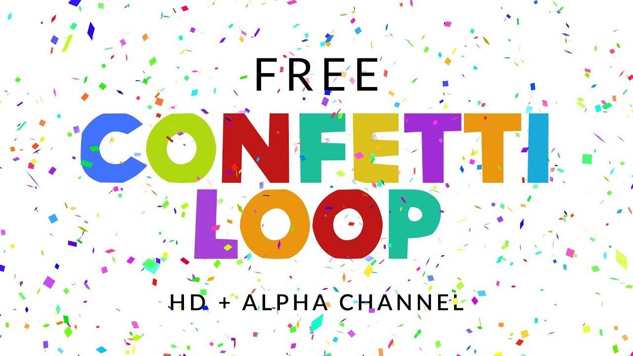 hight resolution of confetti falling loop free animation