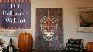 Easy Halloween DIY Sugar Skull Stencil Art  Decoration
