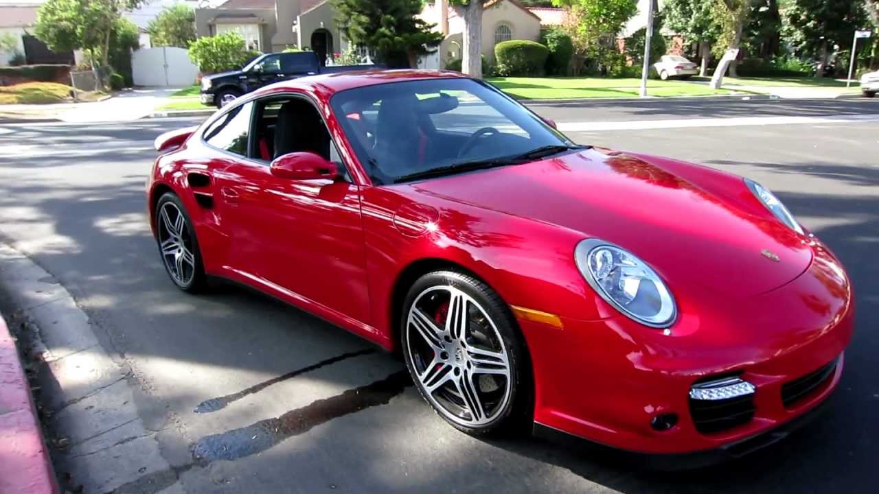 8 100 mile 2009 porsche 911 turbo coupe guards red black. Black Bedroom Furniture Sets. Home Design Ideas