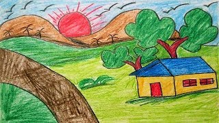 How to Draw Scenery of Summer Season for Kids | Drawing Village Scenery Step by Step