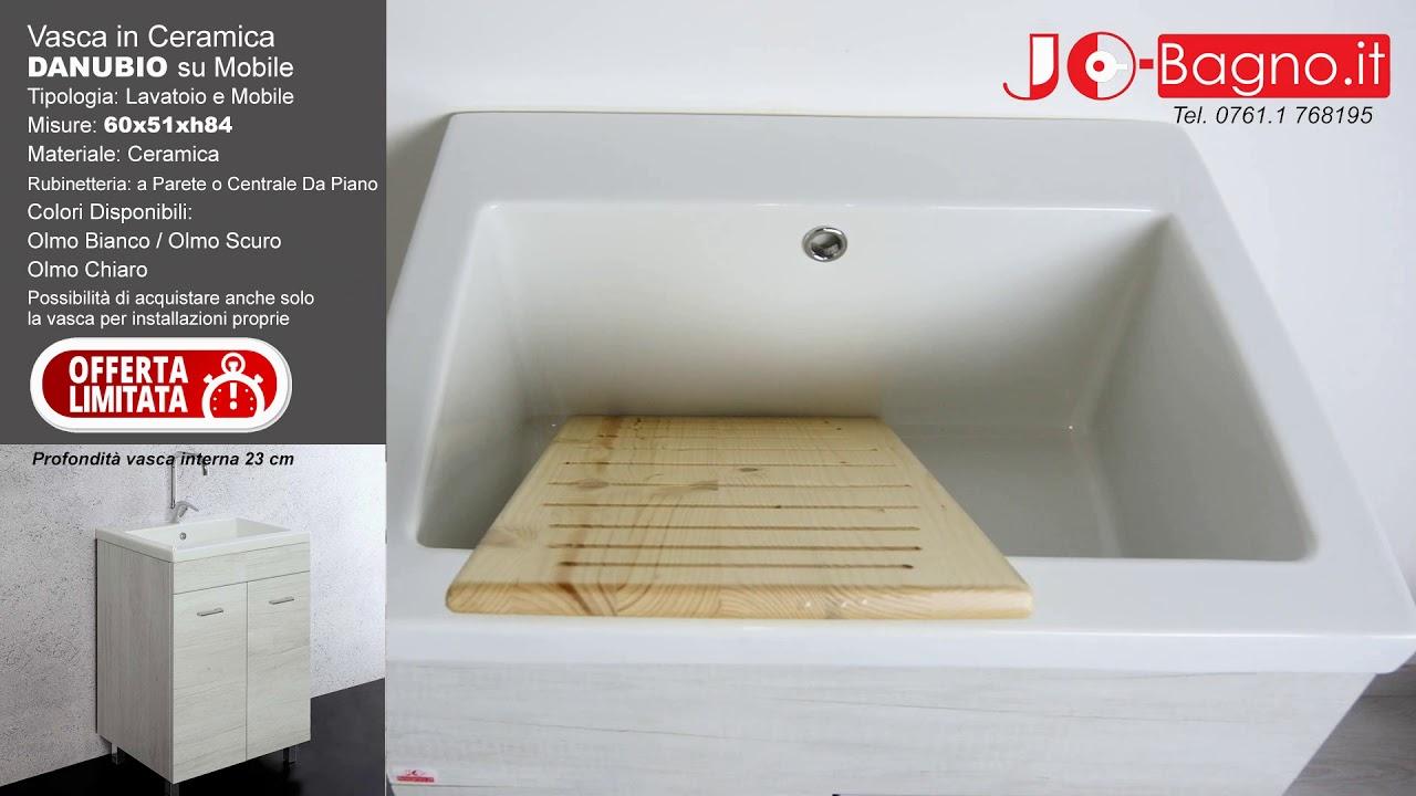 Piano Per Mobile Bagno mobile lavatoio unika 60x50 con vasca in ceramica danubio