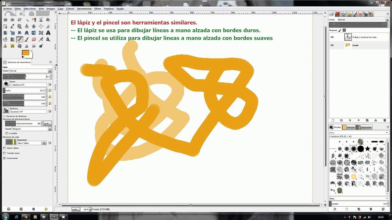 gimp 28 herramienta de dibujo lapiz  YouTube